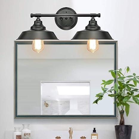 Amazon Com Goodyi 2 Lights Vanity Wall Sconce Lighting Rustic Style Matte Black Bathroom Light Fixtures Over Mirror Industrial Wall Light Sconces For Bathroom Vanity Lights For Cabinets Dressing Table Home Improvement