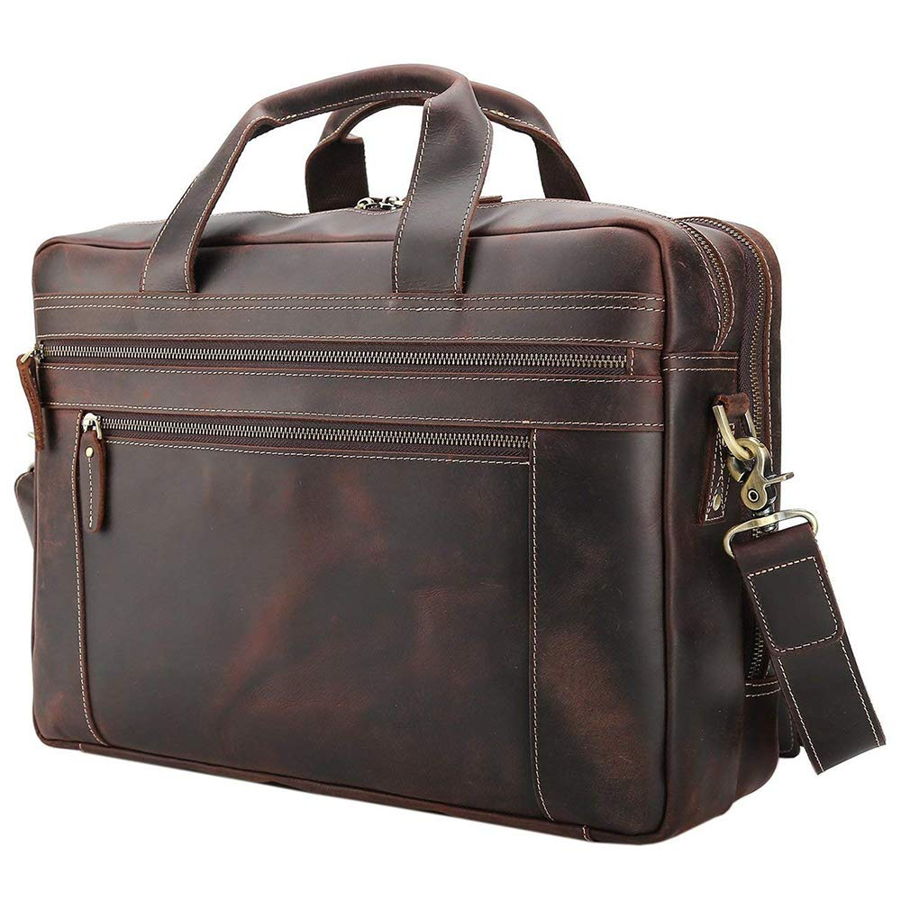 Tiding Men's Leather Briefcases Messenger Bag 15.6'' Vintage Laptop Bag Attache Case Shoulder Bag for Business Travel - Dark Brown