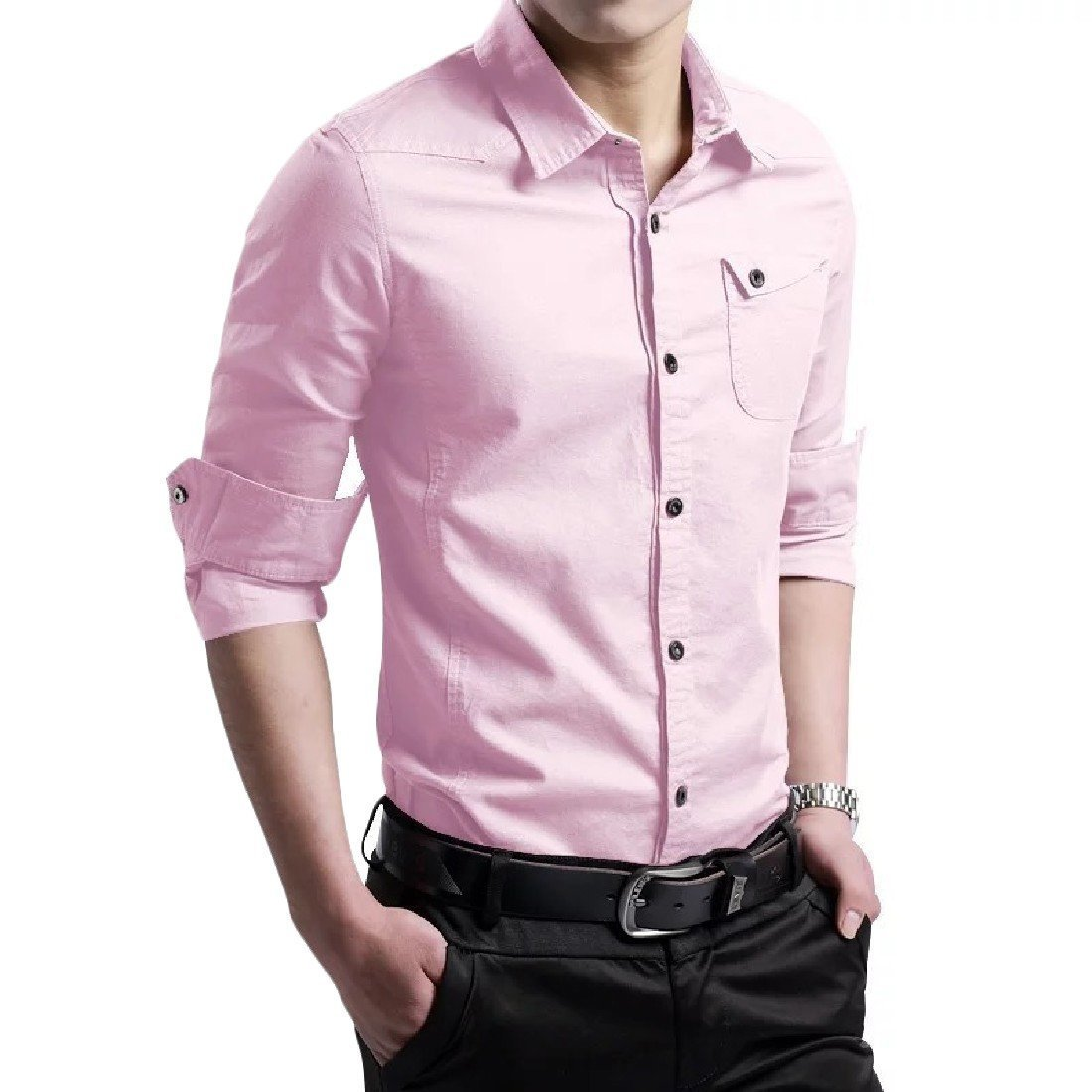 YUNY Men Classics Solid Colored Silm Fit Long-Sleeve Button Down Shirt Pink 2XL