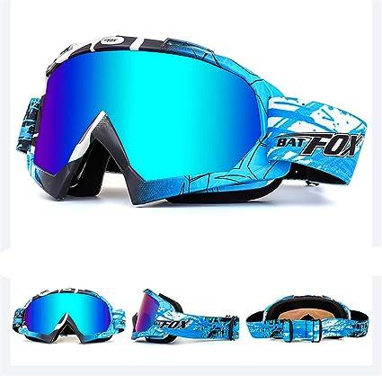 Ihrkleid Motorrad Goggle Motocross Wind Staubschutz Fliegerbrille Snowboardbrille Schneebrille Skibrille Wintersport Brille Dirtbike Off Road Schutzbrille Blau Sport Freizeit