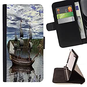 King Case - FOR Apple Iphone 4 / 4S - Better late than never - Prima caja de la PU billetera de cuero con ranuras para tarjetas, efectivo Compartimiento desmontable y correa para la mu?eca