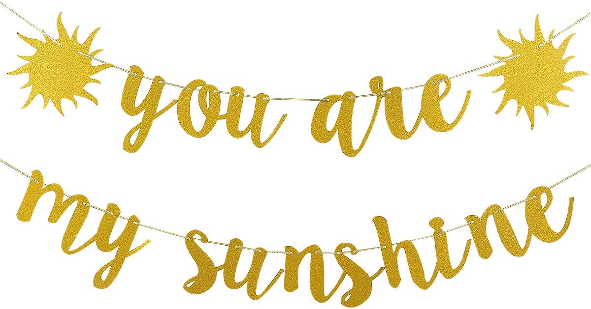 Gold Glittery You are My Sunshine Banner- Baby Shower Party Kids Birthday Party Wedding Party Graduation Party Decorations