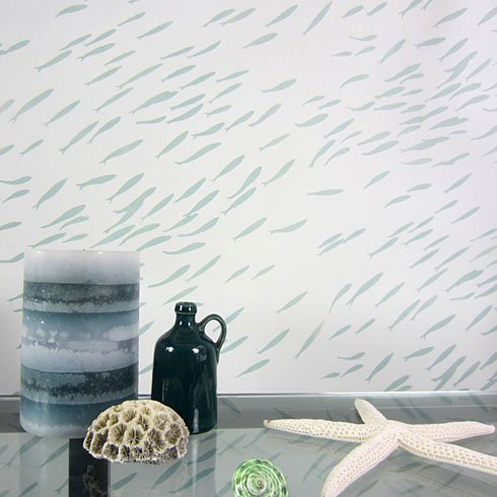 Cutting edge stencils fish school allover stencil pattern wall cutting edge stencils fish school allover stencil pattern wall stencils for diy home decor nautical decor amazon amipublicfo Gallery