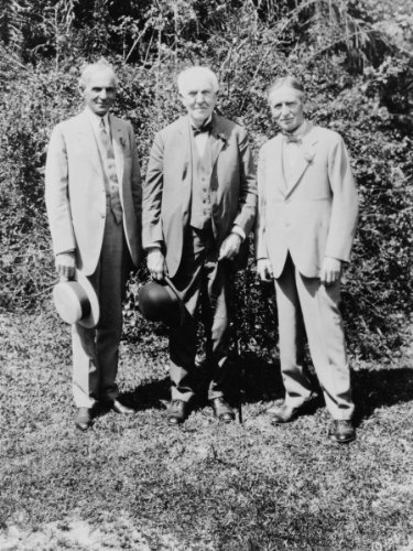 1931 photo Thomas Edison, Henry Ford, and Harvey Firestone, posed outdoors, standing Thomas Edison, Henry Ford, and Harvey Firestone, posed outdoors, standing Vintage 8x10 Photograph - Ready to Frame