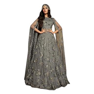 b4b131ef67 Amazon.com: Grey Bollywood Designer Evening Cocktail Net Anarkali Suit  Abaya Gown Dress Women Heavy Party wear Bespoke 7962: Clothing