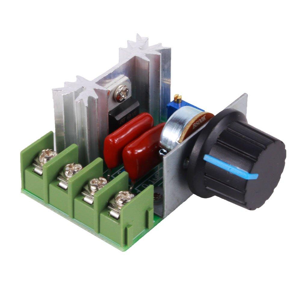 TOPINCN Speed Regulator Voltage Variator Temperature, Adjustable motor speed regulator AC 50-220V 2000W