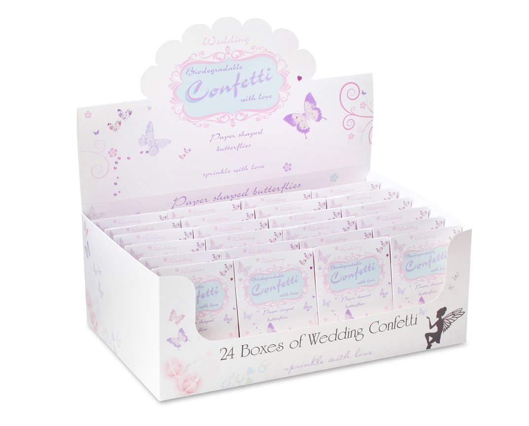 Biodegradable Traditional Wedding Throwing Confetti - Pastel Coloured Butterflies (24 Packs) SWL