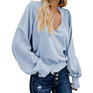 df22b5b60 TWGONE V Neck Long Sleeve Women Blouse Daily Cotton Linen Solid Loose Casual  Tops