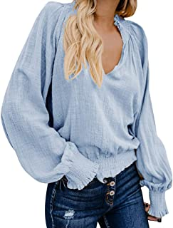 Damen Herbst Shirt Teenager Mädchen Lässig Täglich Baumwolle Leinen Bluse Lose Langarm Top Shirt Tops Pullover T-Shirt