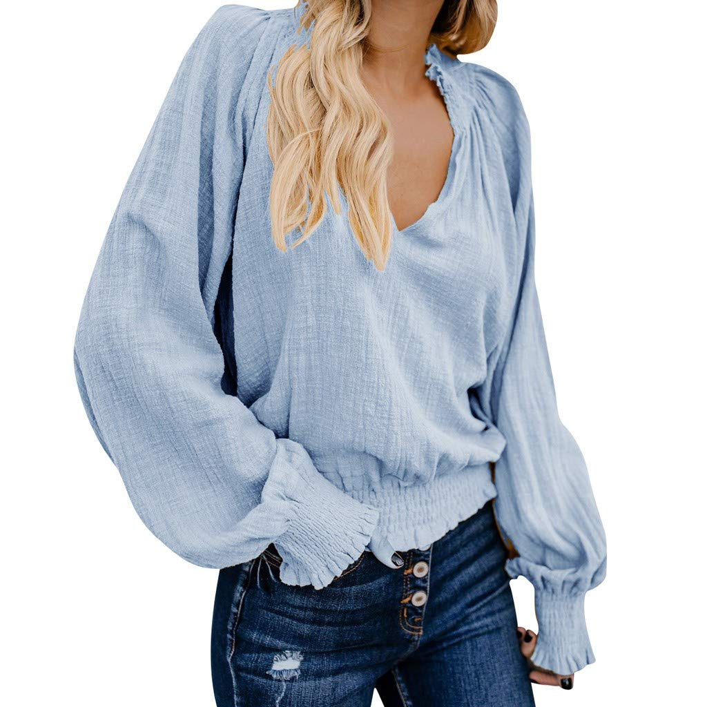86a835aba5a9 Mlide Wooden Ear Pleated National Wind T-Shirt, Womens Casual Cotton Linen  Solid Long Sleeve Loose V Neck Tops Blouse at Amazon Women's Clothing store: