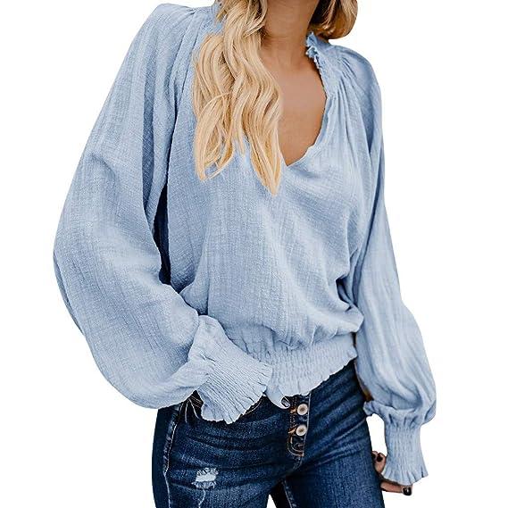28c115ba947 Camiseta Corta Mujer con Cuello en V Manga Larga Blusas de algodón de Lino  Pliegues de Oreja de Madera Informal Tops Sweatshirt Camiseta de Estilo  étnico ...