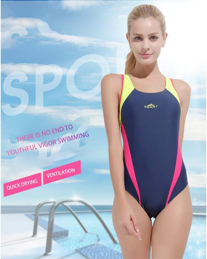 Womens Sport Racerback One Piece Swimsuit Swimwear Rash Guard Wetsuit Sports Diving Surfing Suit CapsA
