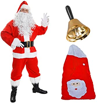 55377eef25 ILOVEFANCYDRESS DELUXE SANTA COSTUME 12 PIECE FATHER CHRISTMAS - SMALL   Amazon.co.uk  Toys   Games