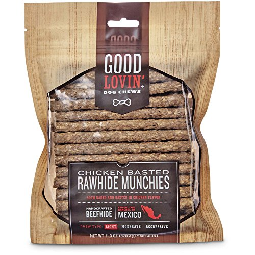 Good Lovin' Chicken Basted Rawhide Munchie Dog Chews, Pack of 40, 11.3 OZ