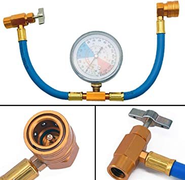 Professional Grade A//C R134A Charging Hose W// Valve /& Can Tap AC Recharge Hose