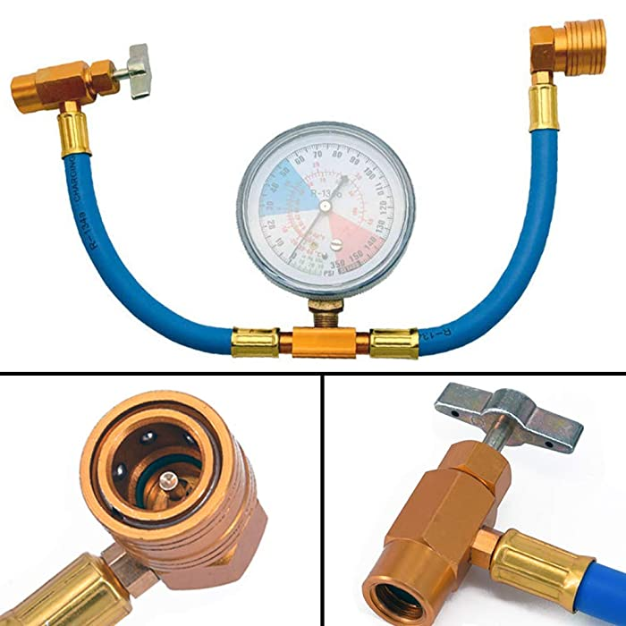 R134a AC Refrigerant Recharge Hose Kit with Measuring Pressure Gauge and 1/2'' Acme Can Opener Tap Dispensing Valve Fit for Automotive or Home Air Conditioners and Refrigerator Refrigerant Charging