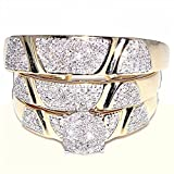 10K Yellow Gold Trio Rings Set His And Her Rings Diamnods (1/2 cttw, I/j Color, i2-i3 clarity)