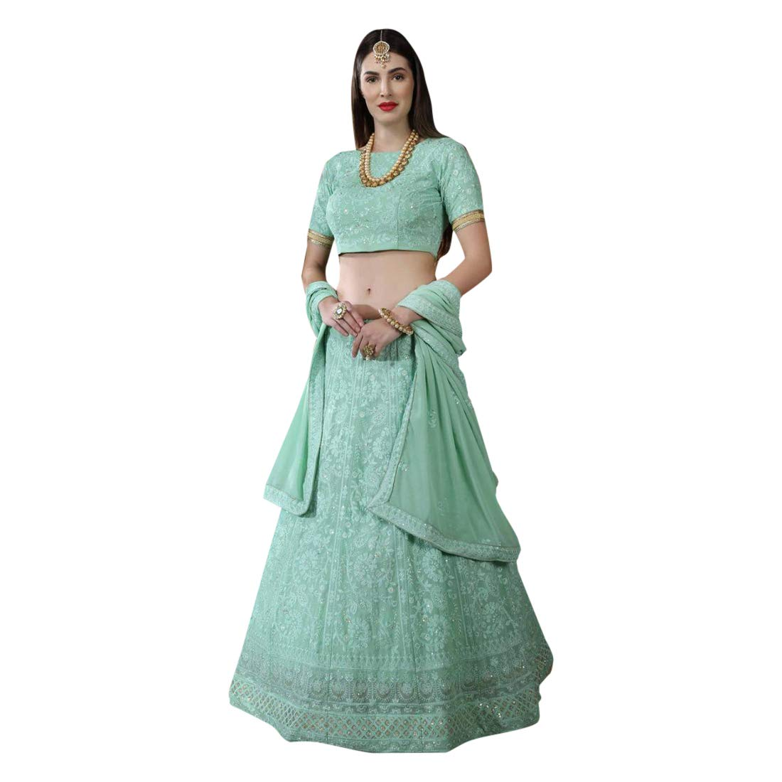 Amazon.com Mint Green Indian Wedding Designer Georgette