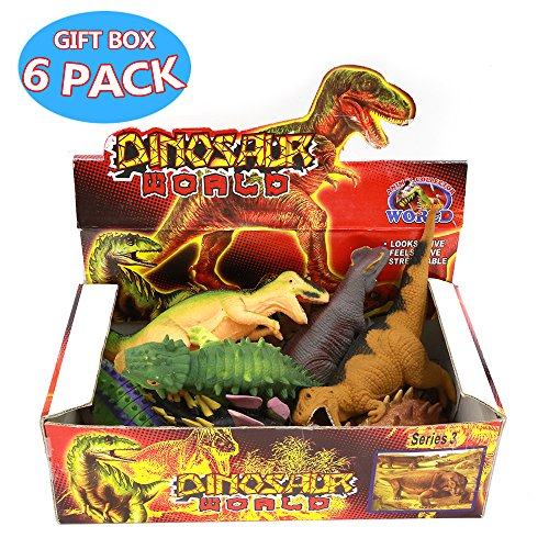 Squishy Dinosaur Toys : Dinosaur Toys,8 Inch Rubber Dinosaur Set(8 Pack),Food Grade Material TPR Super Stretches,With ...