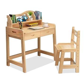 Juegos de mesas y sillas Mesa de estudio y silla. Escritorio de madera maciza, ...
