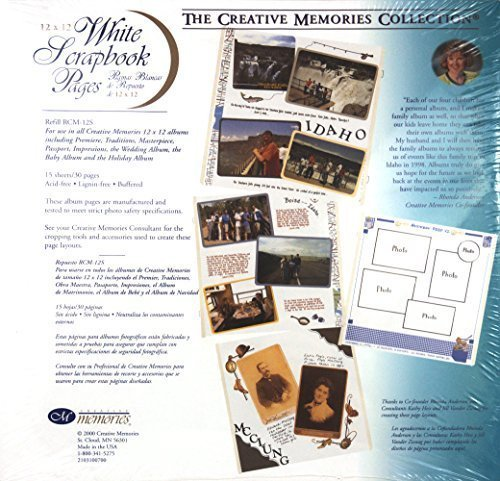 The Creative Memories Collection 12 x 12 12x12 White Scrapbook Pages 15-sheet Refill RCM-12S (2000) by Creative Memories