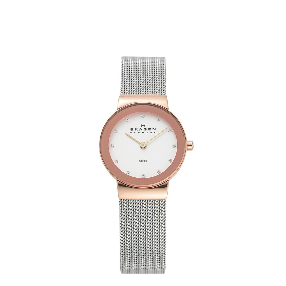 Skagen Women's Freja Quartz Two-Tone Stainless Steel Mesh Casual Watch, Color: Rose Gold and Silver-Tone (Model: 358SRSC)
