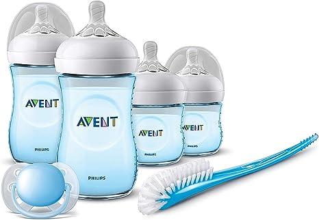 Philips Avent SCD301/04 - Set de recién nacido gama natural, 4 biberones, chupete y escobilla, azul: Amazon.es: Bebé