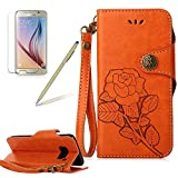 Flip Cover for Samsung Galaxy S8 Wallet Case,Girlyard Retro Rose flowers Pattern Premium PU Leather Magnet Flip Bookstyle with Wrist Lanyard Kickstand Full Body Protective Case -Orange