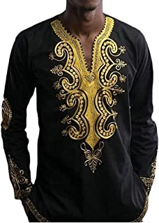 T-Shirt Home Magliette Larghe del Pullover della Maglietta Allentata Stampata Floreale di Stile Etnico del Collo a V Musulmano dell'uomo (Color : Black, Size : XL)