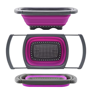 Qimh Colander collapsible, Colander Strainer Over The Sink Vegtable/Fruit Colanders Strainers With Extendable Handles, Folding Strainer for Kitchen,6 Quart(Purple)