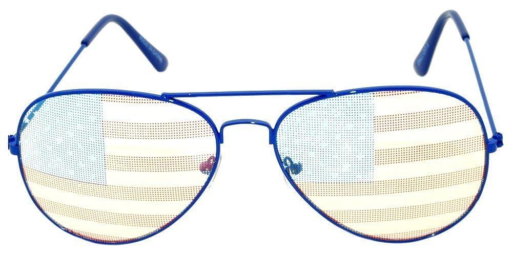 Classic Aviator American Flag Sunglasses Blue Metal Frame