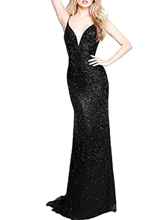 YuNuo Womens Gold Sequins Mermaid V Neck Bridesmaid Dresses Plus Size Prom Dresses