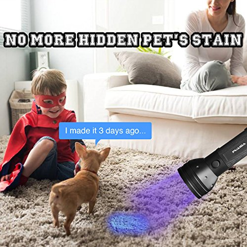 2 Pack UV Flashlights Black Lights – Puaida 395 nm & 51 LED Ultraviolet Blacklight – Multifunctional Portable UV Light - Pet Urine Detector, Scorpion Hunter & Hotel Sanitary Inspection (Black) by Puaida (Image #3)'