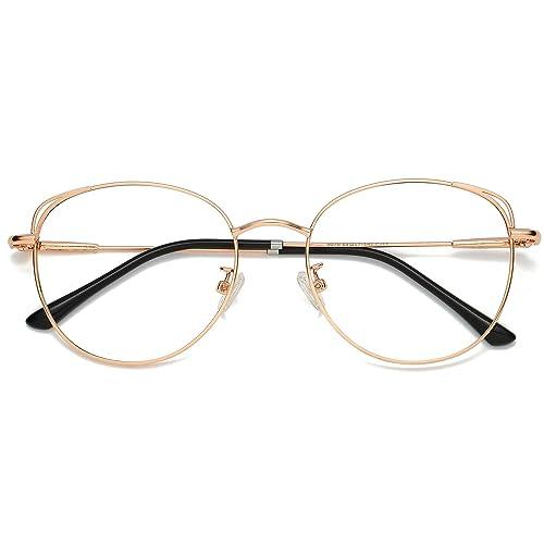 SOJOS Cat Eye Blue Light Blocking Glasses Hipster Metal Frame Women Eyeglasses She Young SJ5027 with Rose Gold Frame/Anti-blue light Lens best blue light blocking glasses for women