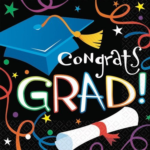 Cool Graduation Streamers and Confetti Luncheon Napkins Party Tableware, Paper, 6.5