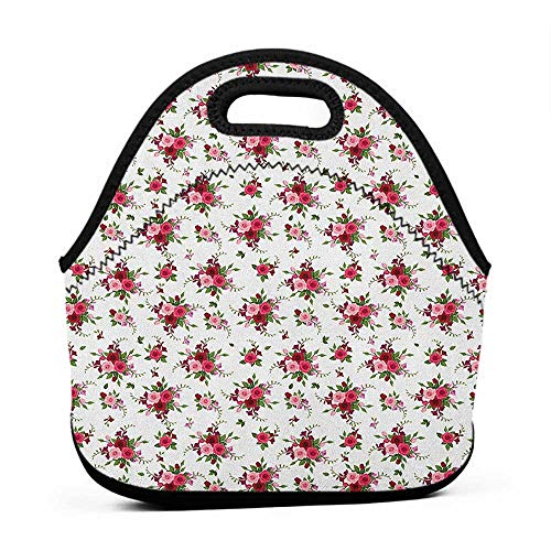 Travel Case Lunchbox with Zip Flowers,Bridal Bouquets Pattern with Roses and Freesia Romantic Victorian Composition, Pink Ruby Green,paw patrol insulated lunch bag for kids