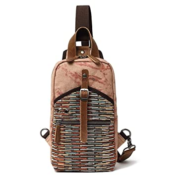 1cb5dcf337e5 Amazon.com: Leaper Canvas Aidonger Canvas and Leather Chest Bag Tiny ...