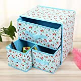 HOMEE 2-piece beautiful flower pattern soft storage accessory organizer durable khaki/blue,B