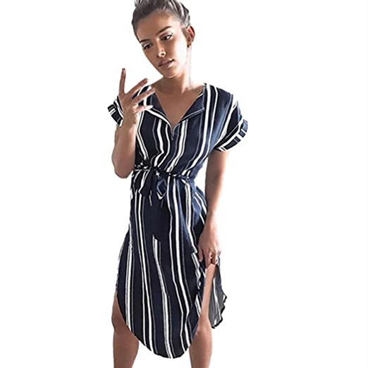 53ae8160a0cd HODOD Casual Navy Striped V-Neck Short Sleeve Dress Mini Dress with  Waistband Dress for