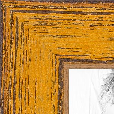 ArtToFrames 16x20 inch Gold Rustic Barnwood Wood Picture Frame, WOM0066-77900-YYLW-16x20