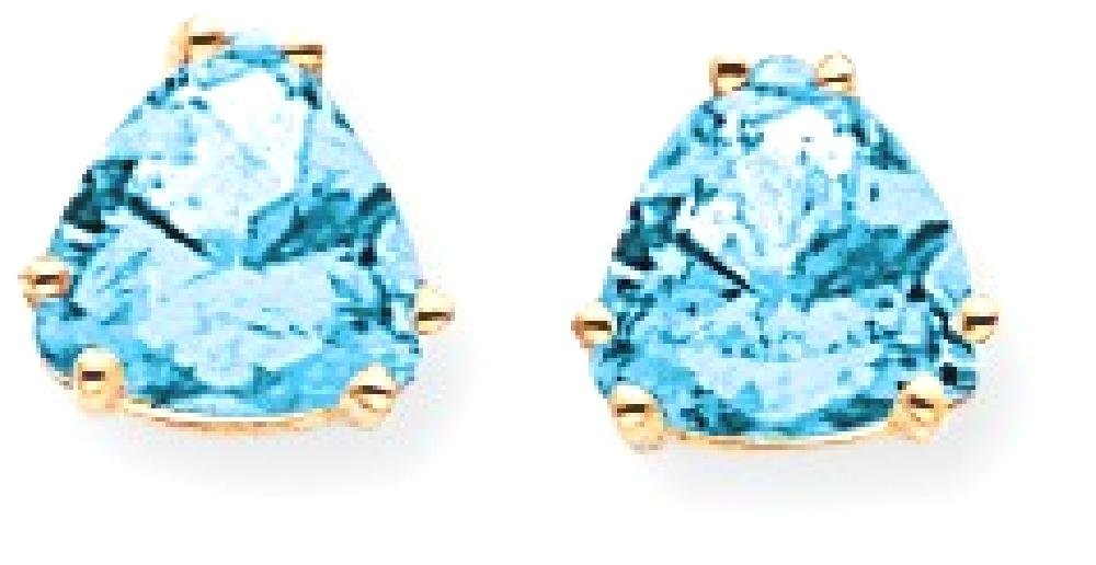 ICE CARATS 14k Yellow Gold 7mm Trillion Blue Topaz Post Stud Ball Button Earrings Gemstone Fine Jewelry Gift Set For Women Heart