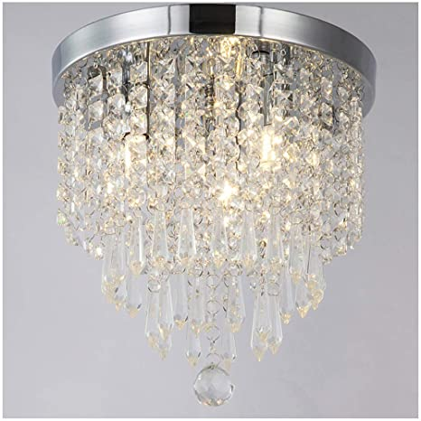 ZEEFO Crystal Chandeliers, Modern Pendant Flush Mount Ceiling Light ...