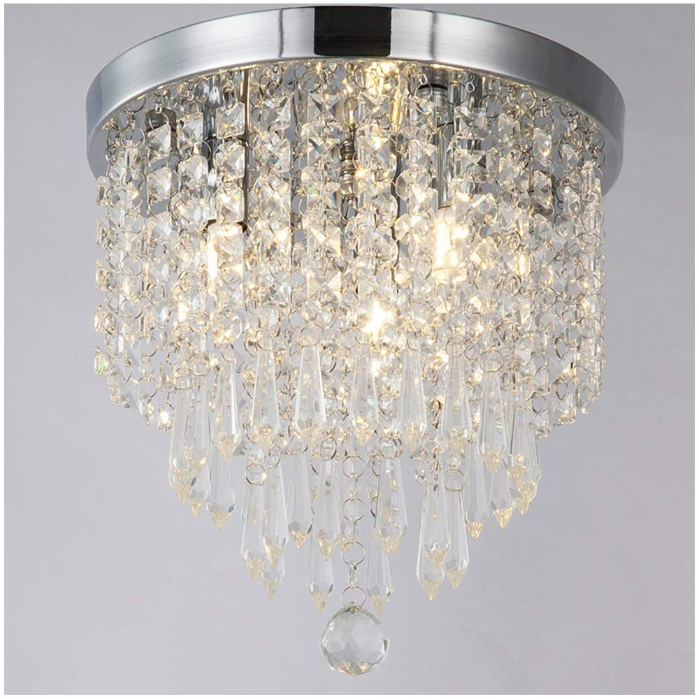 ZEEFO Crystal Chandeliers, Modern Pendant Flush Mount Ceiling Light Fixtures, 3 Lights, H10.2 W9.8 Inches, Contemporary Elegant Design Style Suitable for Hallway, Living Room, Dining Room by ZEEFO
