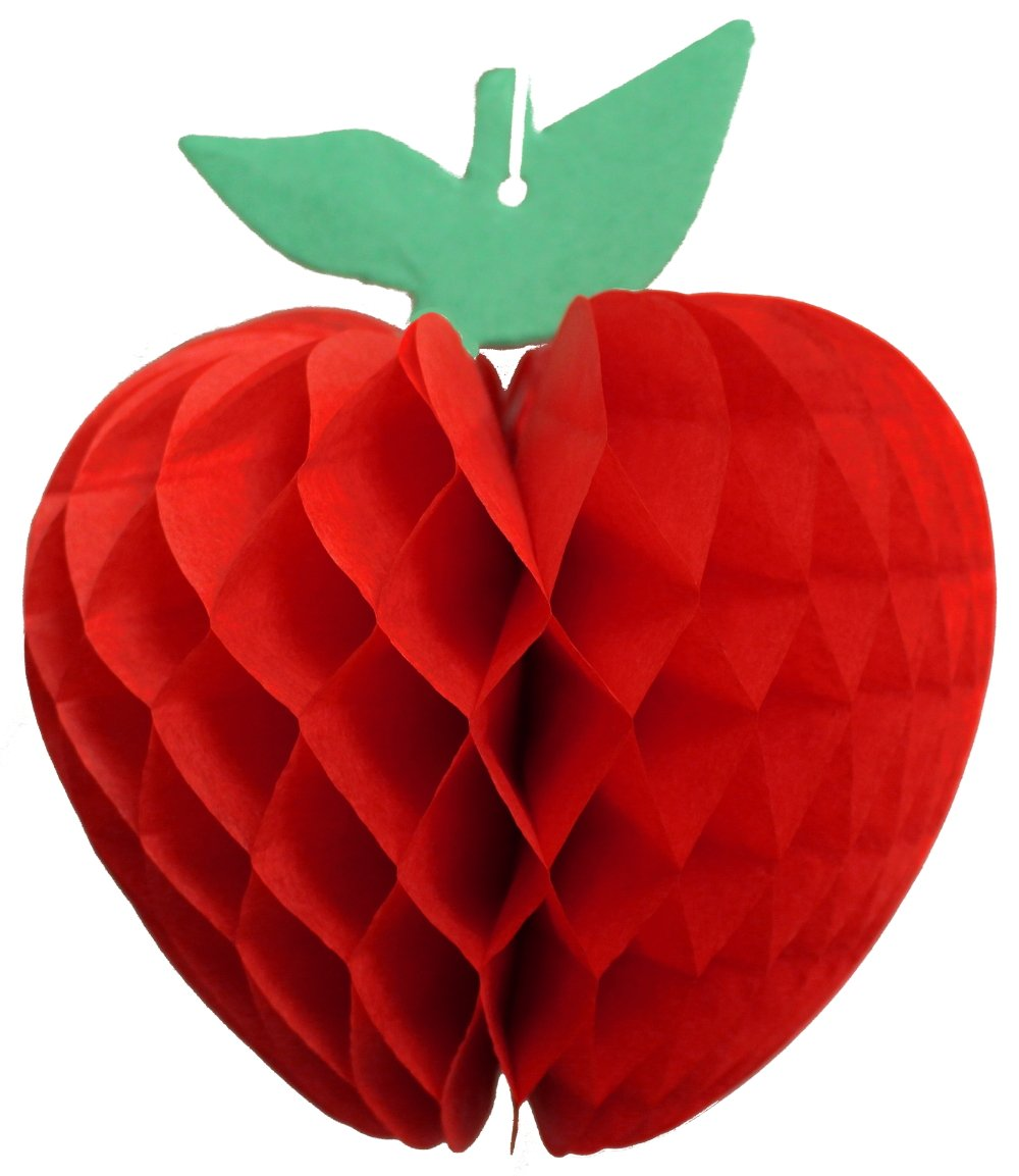 6-pack 7 Inch Honeycomb Tissue Paper Apple Decoration (Red)