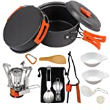 AnimaMiracle 14/15 Piece Camping Cookware Mess Kit, Hiking Camping Backpacking Gear & Camping Outdoor Survival kits Cooking Equipment Utensils Mini Non-Stick Pan, Lightweight,Compact Camp Pot Set