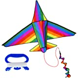 Kite for Kids Easy Flyer 3D Airplane Kite - Huge Children Rainbow Kites 152X108 cm -Complete Outdoor Toy Set with Kite Line Spool and Carrying Bag - Best Beach Kite Toys for Family Summer Fun