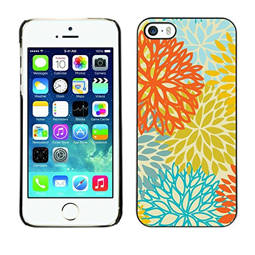 Soft Silicone Rubber Case Hard Cover Protective Accessory Compatible with Apple iPhone? 5 & 5S - yellow orange teal flowers pattern