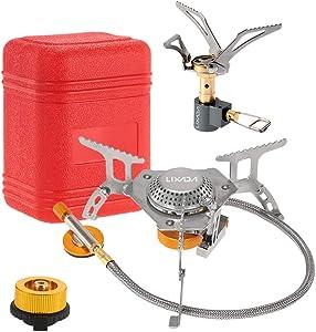 Lixada Camping Gas Stove,Ultralight Mini Pocket Stove Split Burner,Conversion Head Adapter,Piezo Ignition Adjustable Valve,Flat Canister Adapter