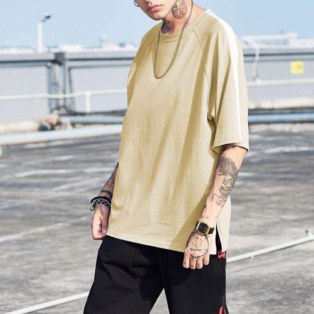 CGKUITER Men Summer Solid Casual Patchwork Pullover Short Sleeve T-Shirt Top Blouse Streetwear Sport Skateboard