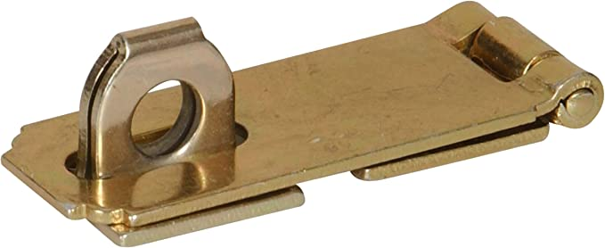 """Hillman Hardware Essentials 851401 Fixed Staple Safety Hasp Zinc and Yellow Dichromate 2-1/2"""" - Wood Screws - Amazon.com"""